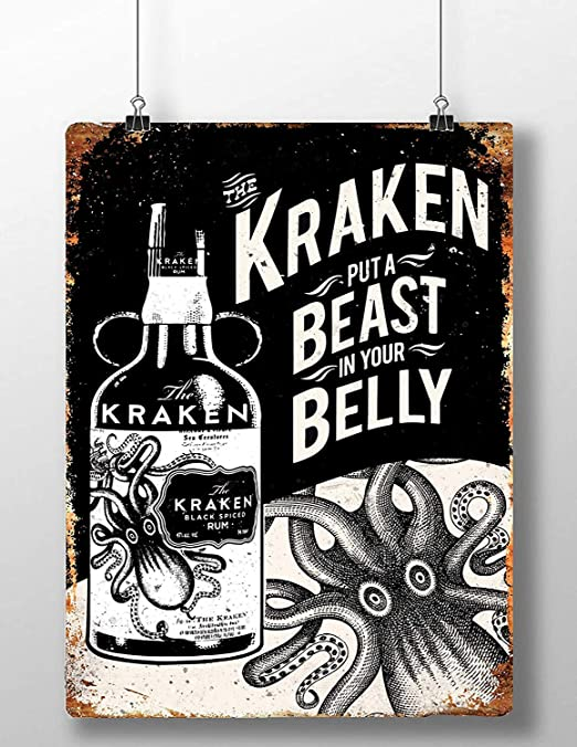 Froy Kraken Rum Belly Beast Pared Cartel de Chapa Retro ...