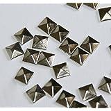"""TOOGOO(R) 100pc Hotfix Iron On, 7mm Flat Back Silver Pyramid Studs - 1/4"""" FlatBack Glue on Studs"""