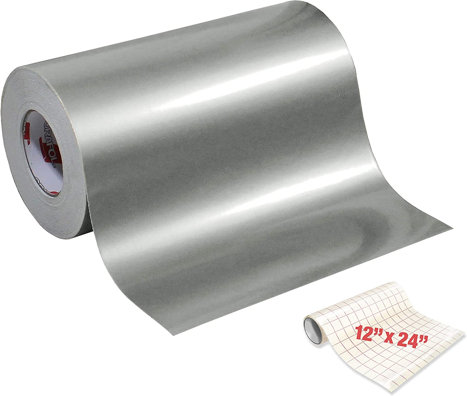 ORACAL 651 Gloss Silver Metallic Adhesive Craft Vinyl 12 x 6ft for Cameo Cricut /& Silhouette Including Free Roll of VViViD Clear Transfer Paper