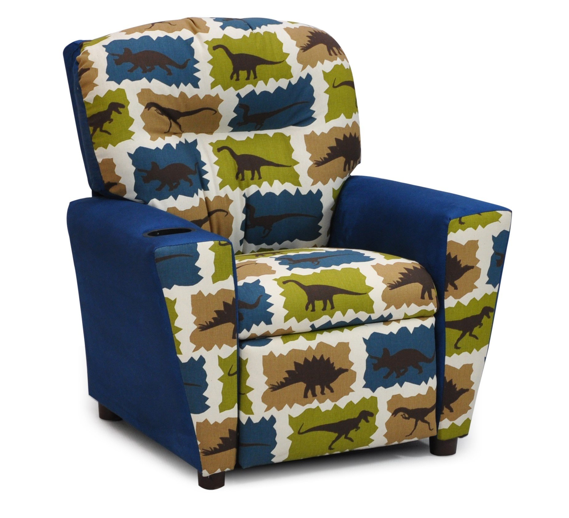 Dinosaur Childs Upholstered Reclining Armchair with Cup Holders | Kids Toddler Gender Neutral Recliner Chair, Bedroom Decor Furniture for Children, Girls and Boys Easy Care Seating (Blue Dino)