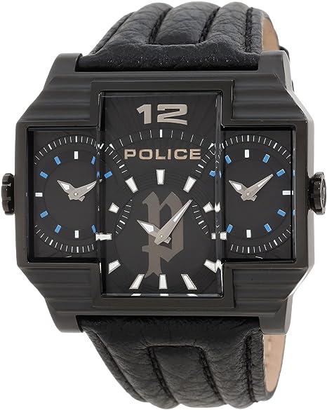 Police Reloj de Hombre Hammerhead con esfera negra, pantalla analógica y correa de piel negra 13088Jsb/02: Police: Amazon.es: Relojes