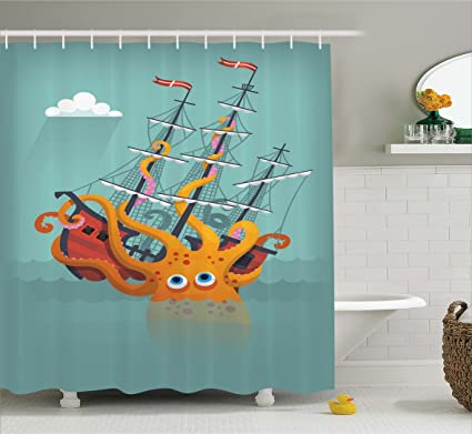Ambesonne Kraken Decor Shower Curtain By Giant Squid Sinking A Pirate Boat Into Ocean Anchor