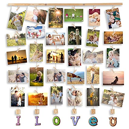 MOVEONSTEP Marcos para Fotos Multi Love Marco de Pared de Madera Decoracion Cuadros para Colgar Fotos