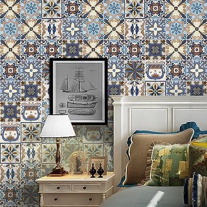HIFUAR Bohemian Tile Stickers Self Adhesive Wallpaper Peel And Stick For Bathroom Kitchen Decor