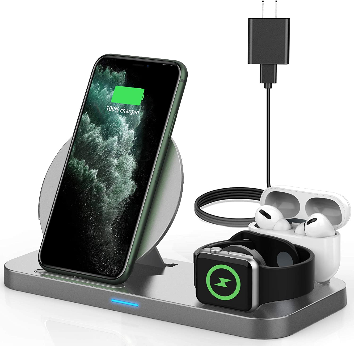 Powlaken 3 in 1 Wireless Charger, Wireless Charging Station Compatible for Apple iWatch Series SE 6 5 4 3 2 1, AirPods Pro 2, Wireless Charging Stand Dock for iPhone 11, 11 Pro Max, XR, XS, X (Grey)