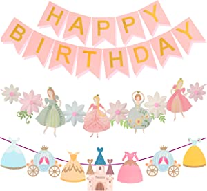 Princess Birthday Decoration | Princess Birthday Banner | Pink Happy Birthday Banner | Pink and Gold Birthday Party Decorations | Princess & Flower shape birthday party banner | Princess Home & Cab s