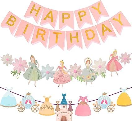 Amazon.com: Decoración de cumpleaños de princesa, pancarta ...