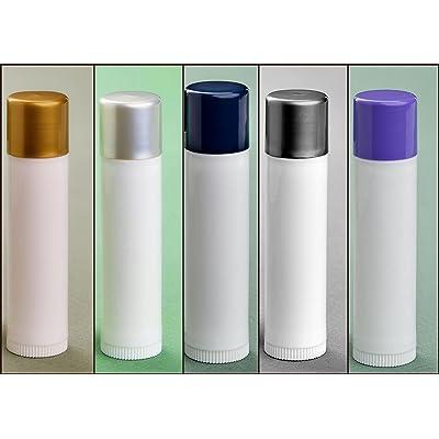 10 .15 oz White Plastic Empty Lip Balm Containers Tubes (2 each with metallic gold, dark metallic silver, light metallic silver, navy, and lavender caps)