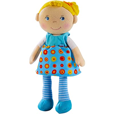 "HABA Snug Up Edda - 10"" Soft Doll with Fuzzy Blonde Hair, Embroidered Face and Removable Blue Dress (Machine Washable) for Ages 18 Months +: Toys & Games"