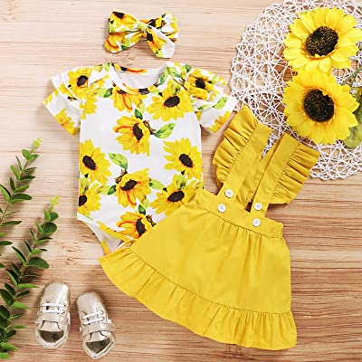 Infant Baby Girl Ruffle Romper Tops Skirt Dress Floral Clothes Outfits 3PCS Set