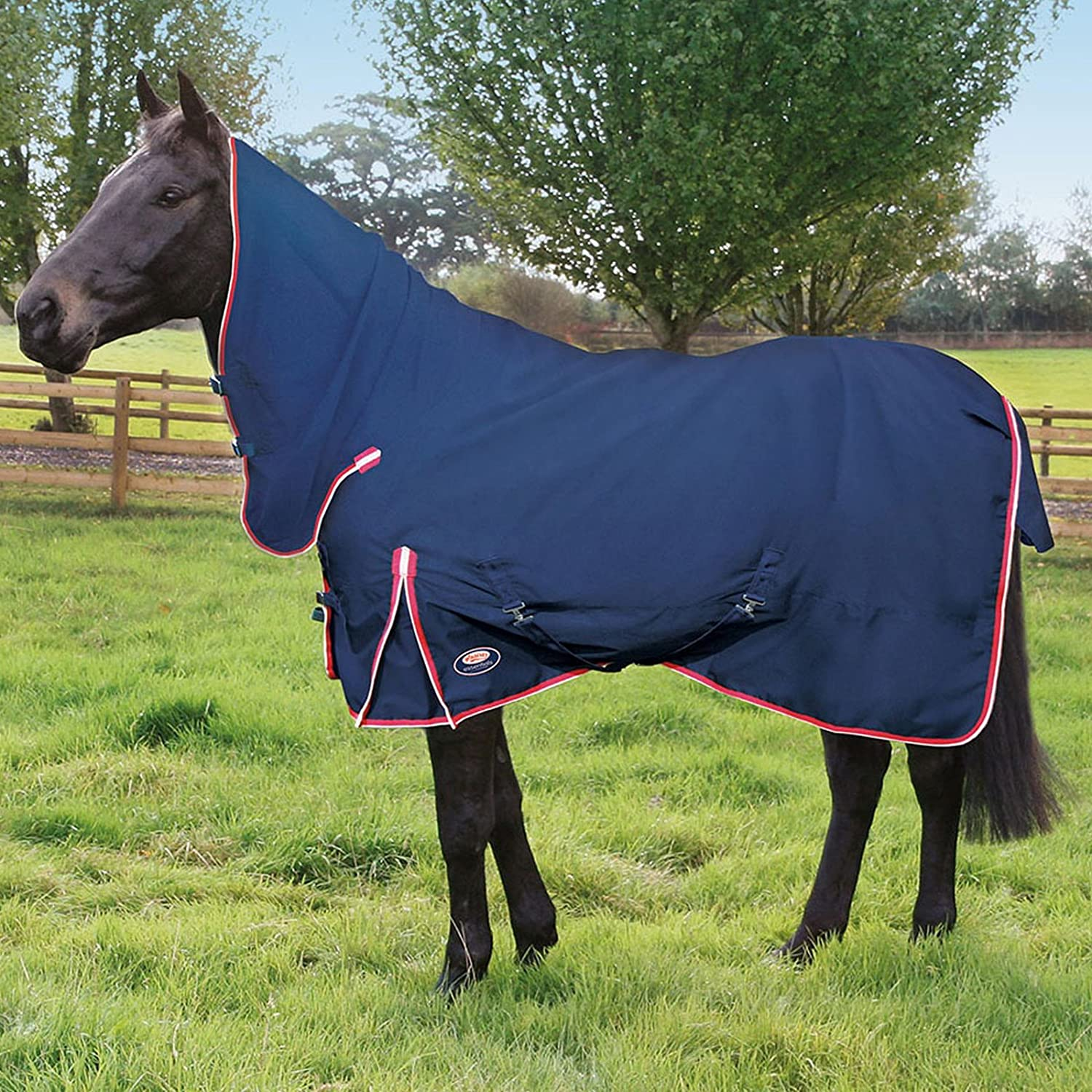 6.9\ WOLSELEY essentials Navy with Red & White Binding Heavyweight Combo Waterproof Turnout Rug AND Tigerbox® Antibacterial Pen