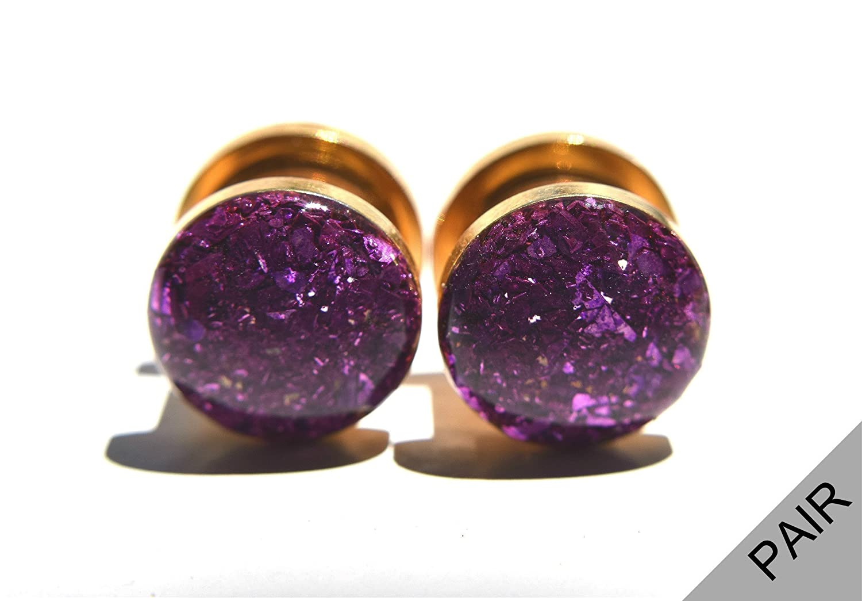 16g thru 1 inch Handmade Royal Purple Crushed Glass on Gold Plugs Gauges