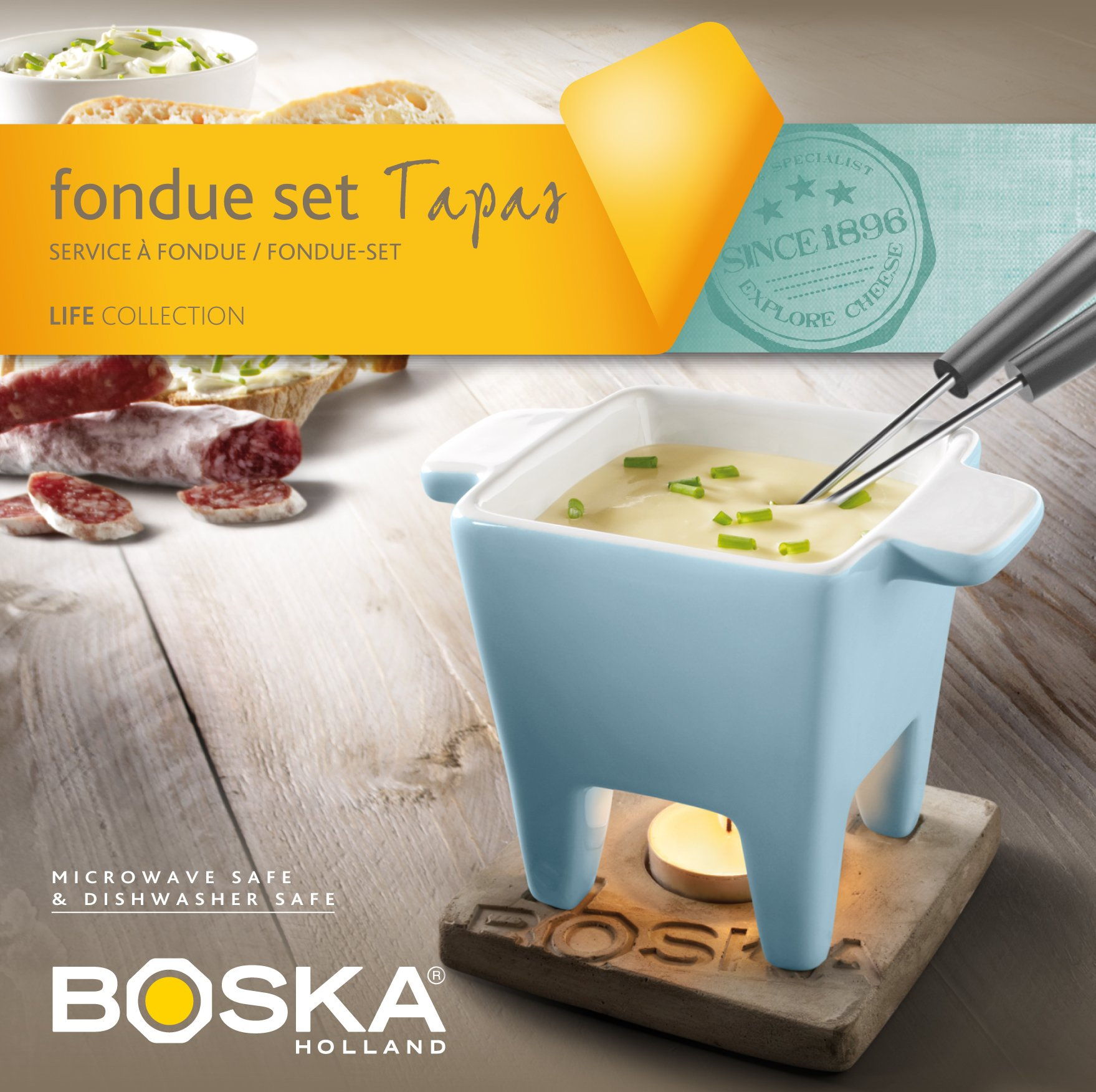 Boska Holland Life Collection Ceramic with Concrete Base Tapas Fondue Set, Blue