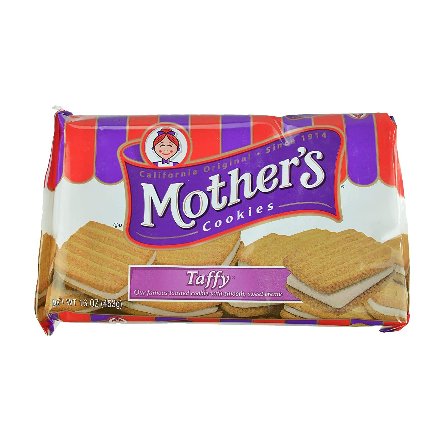 Mother's Taffy Sandwich Cookies, 16-Ounce Packages (Pack of