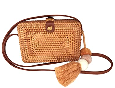 af9794b5a04 Rattan Crossbody Bags - Square Woven Wicker Straw Purses (Faux Leather  Strap)