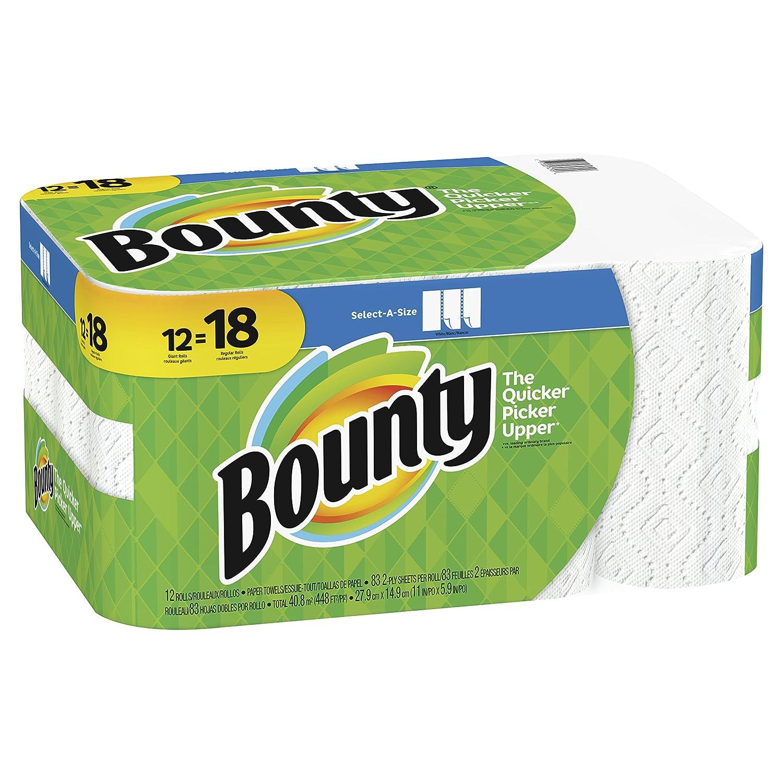 Toallas de papel Bounty Select-A-Size de 2 capas, 28 cm Paquete de 12 rollos gigantes de 12,7 cm y 40,6 cm, color blanco: Amazon.es: Oficina y papelería