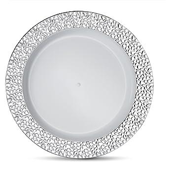Laura Stein Designer Tableware Premium Heavyweight 10\u0027\u0027 Inch White Plate And Hammered Silver Border  sc 1 st  Amazon.com & Amazon.com: Laura Stein Designer Tableware Premium Heavyweight 10 ...