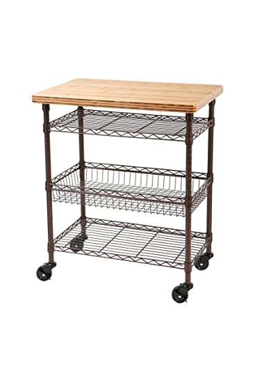 Amazon.com   Seville Classics Professional Chefu0027s Kitchen Cart With Solid  Bamboo Top