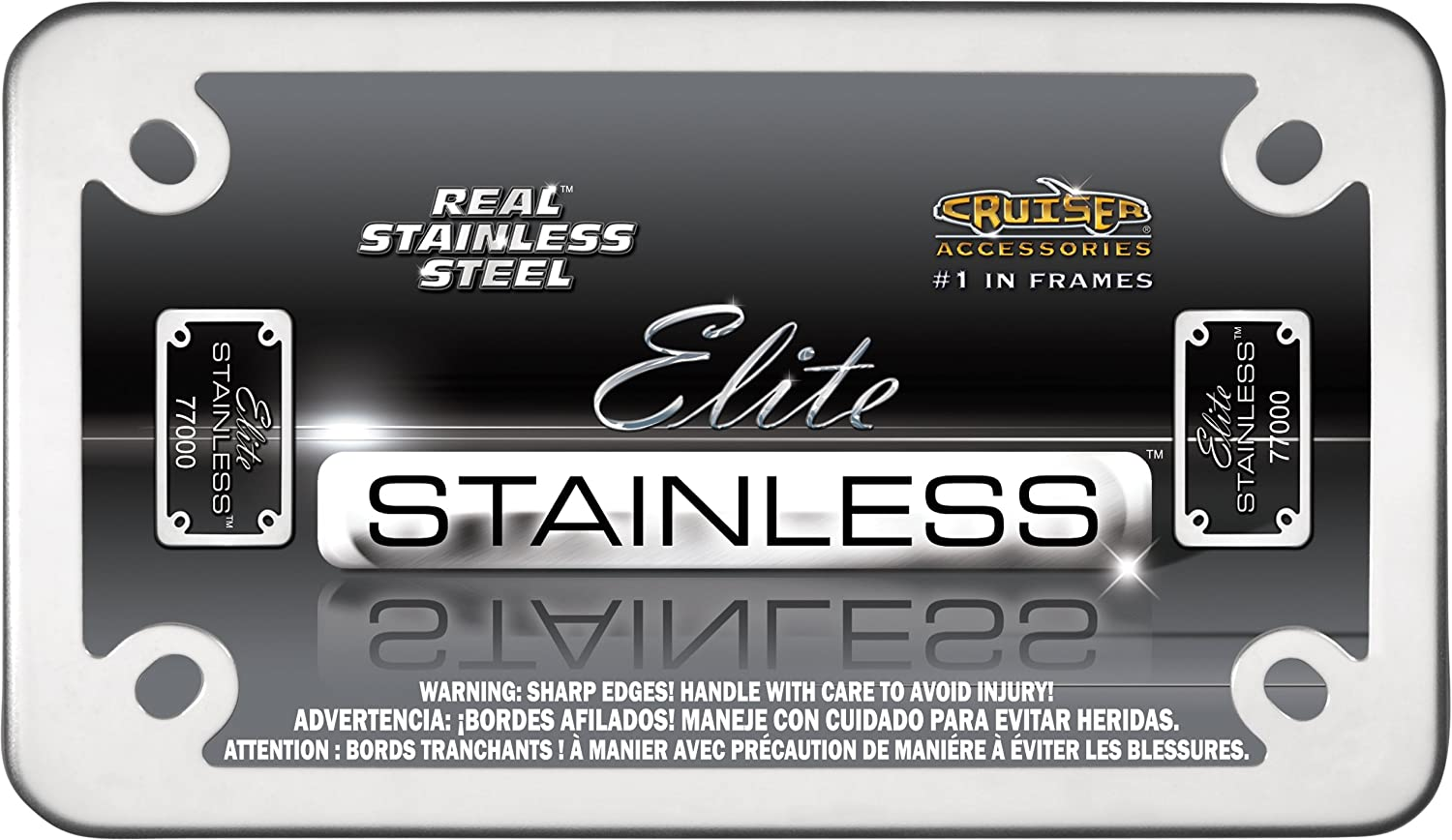 Amazon.com: Motorcycle Elite Stainless Steel License Plate Frame by ...