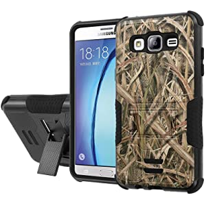 Galaxy [On5] Armor Case [NakedShield] [Black/Black] Urban Shockproof Defender [Kick Stand] - [Grass Camouflage] for Samsung Galaxy [On5]