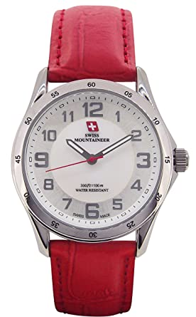 f2890c5a79c Amazon.com  Swiss Mountaineer Ladies Swiss Watch Red Leather Band ...