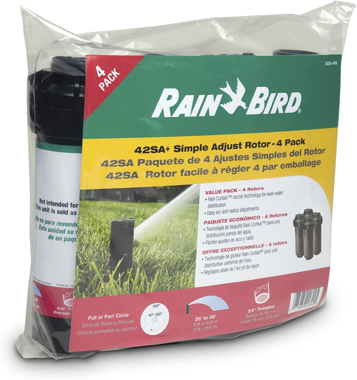 Rain Bird 42SA 4PK Simple Adjust Gear Drive Rotor, Adjustable 40 – 360 Pattern, 26 – 38 Spray Distance, 4-Pack
