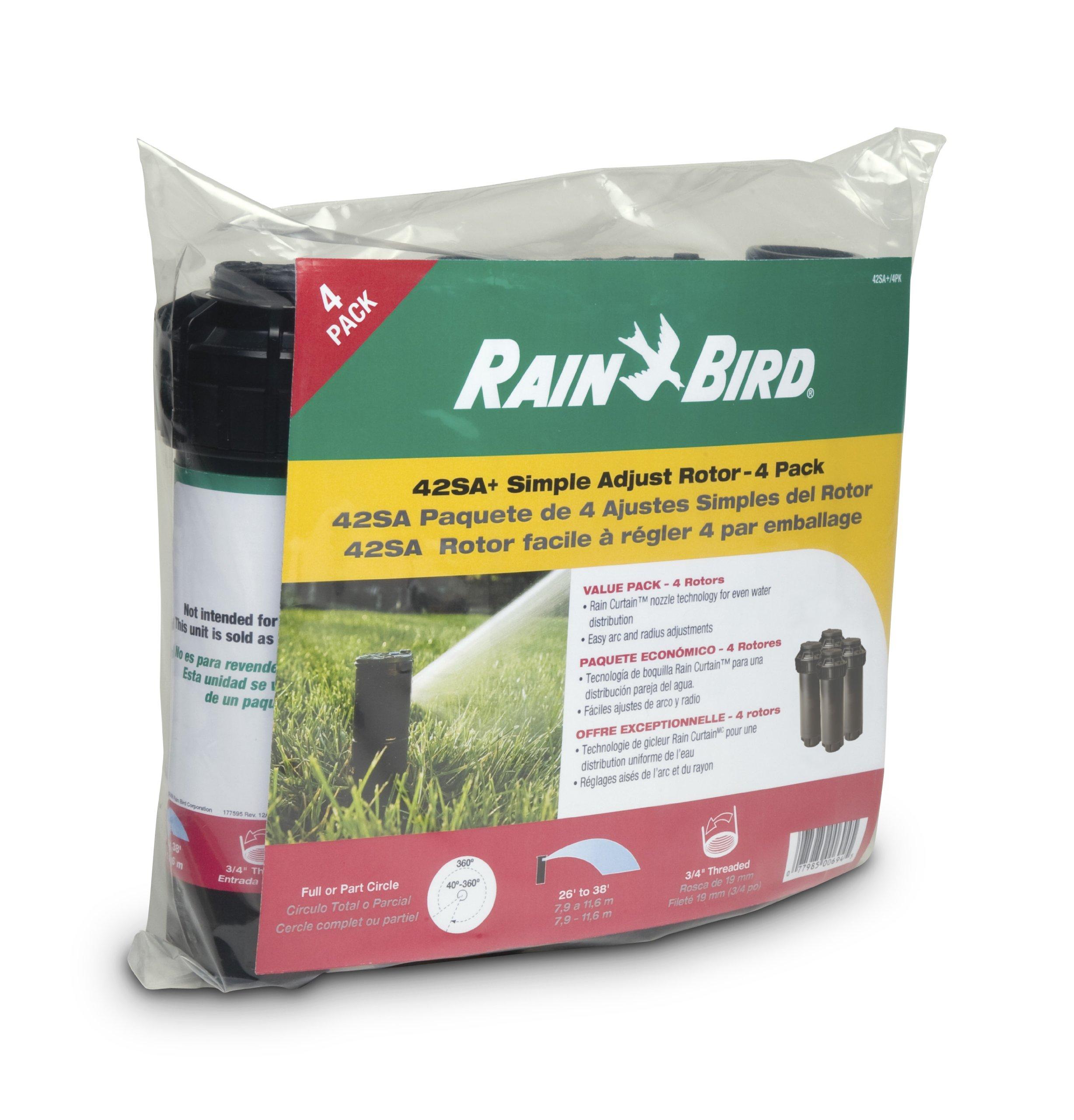 Rain Bird 42SA+/4PK Simple Adjust Gear Drive Rotor, Adjustable 40° - 360° Pattern, 26' - 38' Spray Distance, 4-Pack by Rain Bird