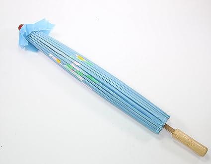 22 Inch Tall Light Blue Floral Pattern Wood Bamboo Nylon Parasol Umbrella Backyard Decoration Gift