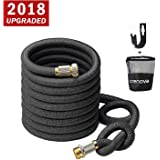 Crenova Garden Hose, 50ft Garden Hose, Upgraded Expandable Water Hose with Double Latex Core, 3/4'' Solid Brass Connectors, Extra Strength Textile, Easy Dry Storage Bag and Durable Garden Hose Holder