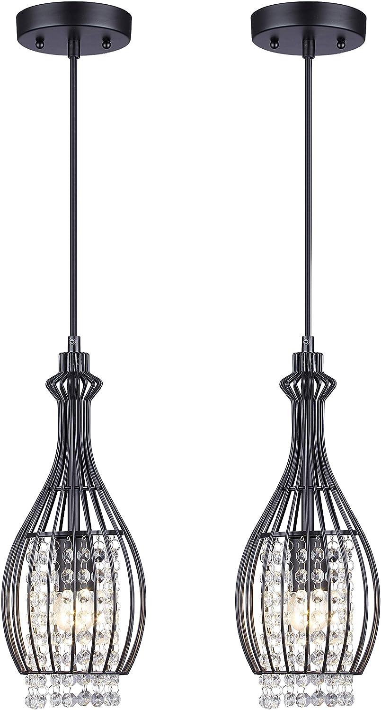 Cuaulans 2 Pack Modern Black Crystal Ceiling Pendant Lighting, Adjustable Pendant Light for Kitchen Dinning Room Bedroom