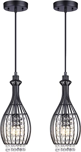 Cuaulans 2 Pack Modern Industrial Mixing Metal Black Crystal Pendant Light, Adjustable Ceiling Hanging Light Fixtures for Kitchen Dinning Room Bedroom Hallway Bar
