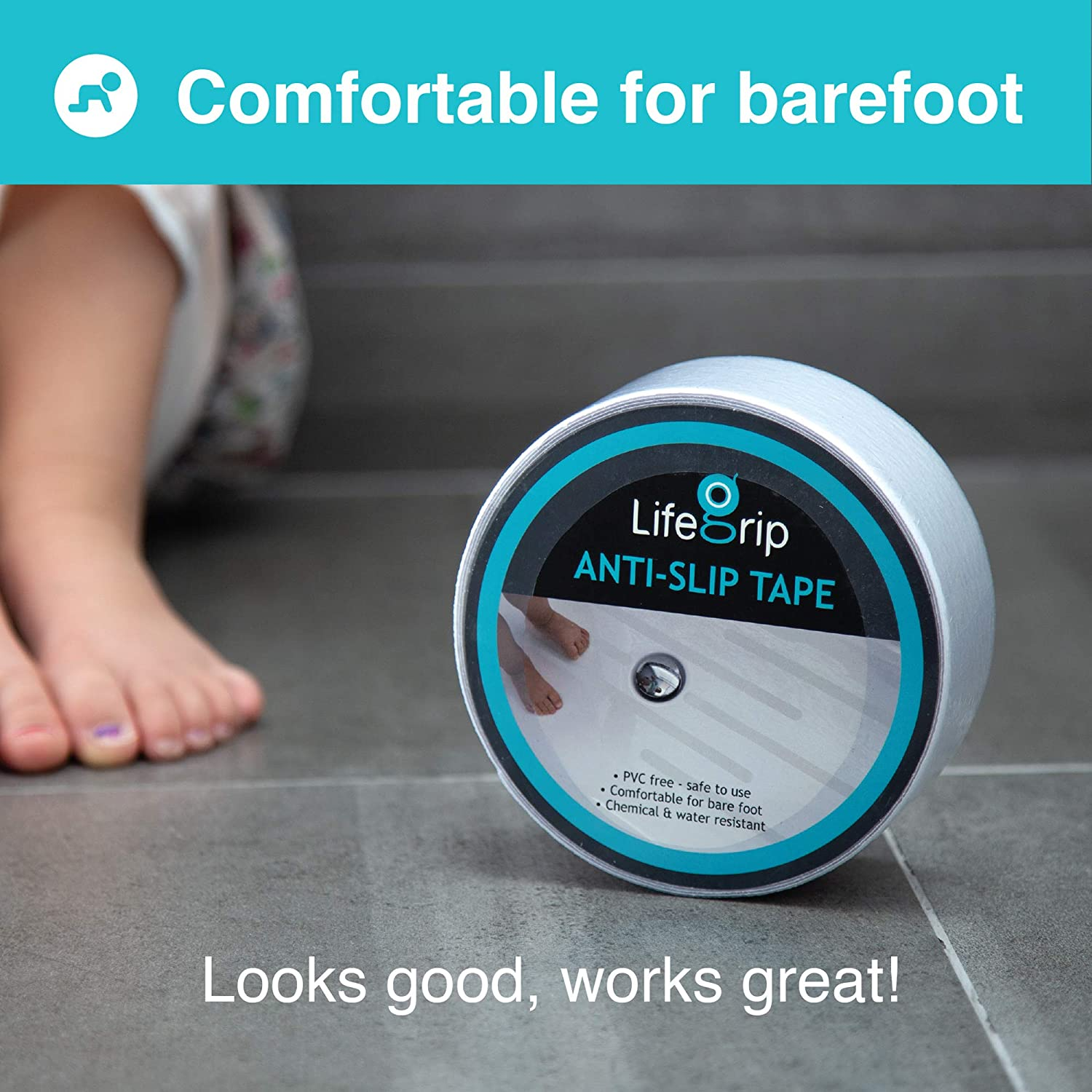 LifeGrip Anti Slip Fine Resilient Safety Tape Soft Stairs Boats Tub and Shower Treads Comfortable for Bare feet Pools 2 X 15 Clear 2 inch X 15 feet adds Non-Slip Traction to Tubs