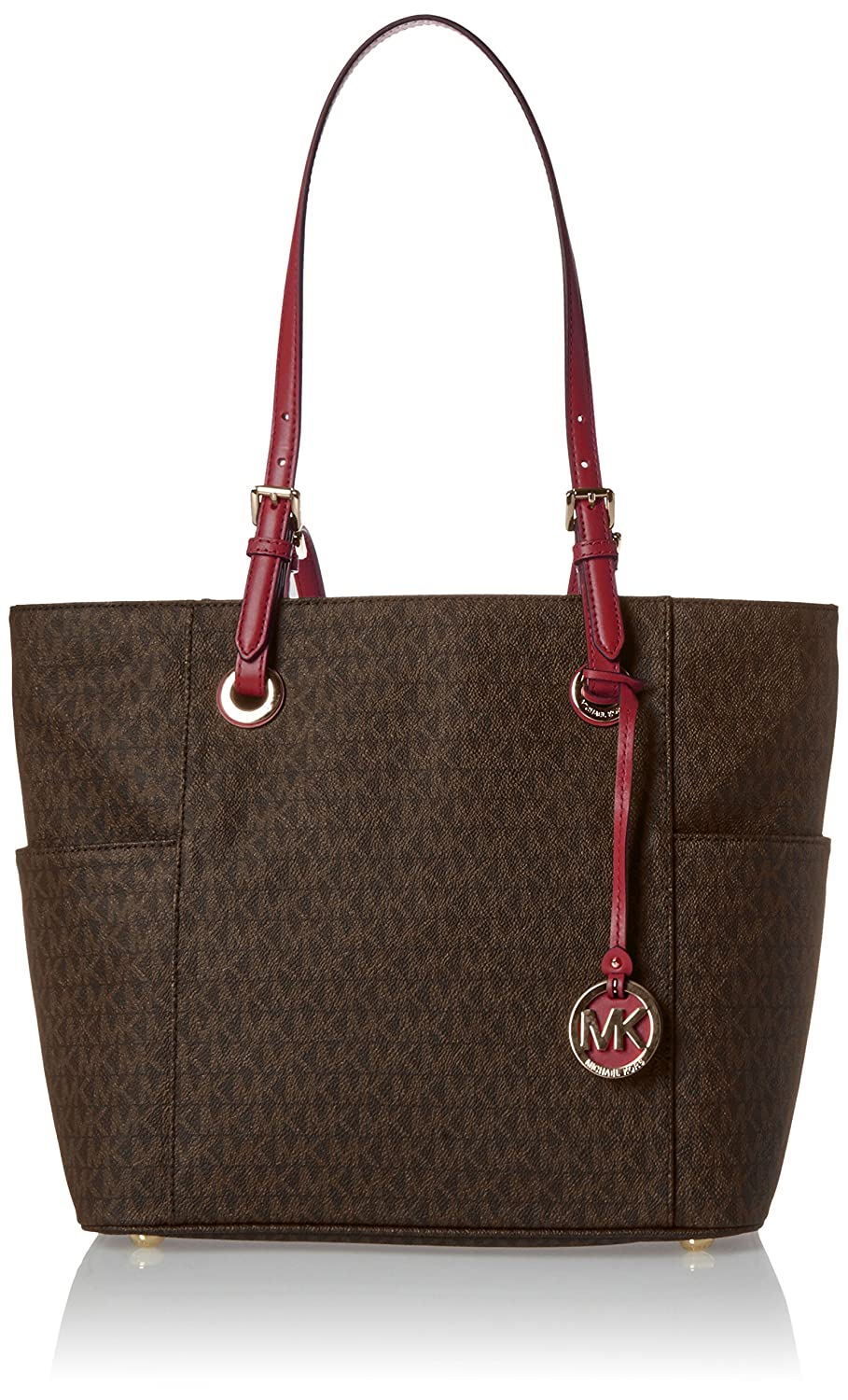 68af4f3fdc2a Amazon.com: Michael Kors Jet Set Travel Small Logo Tote (Brown/Mulberry): Michael  Kors: Cell Phones & Accessories