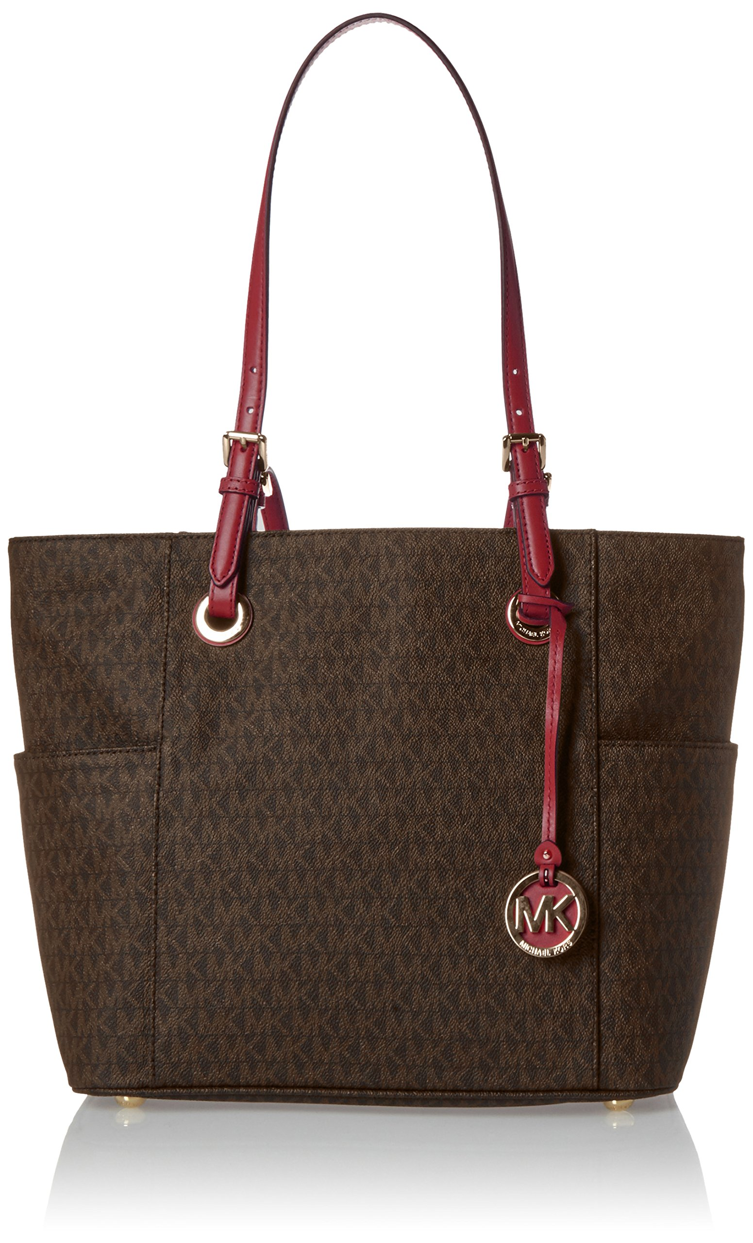 MICHAEL Michael Kors Jet Set Travel Small Logo Tote (Brown/Mulberry) by MICHAEL Michael Kors