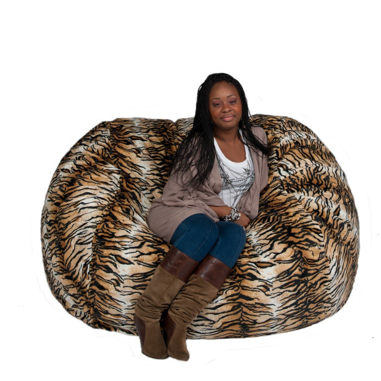 Cozy Sack 5-Feet Bean Bag Chair, Large, Tiger Print