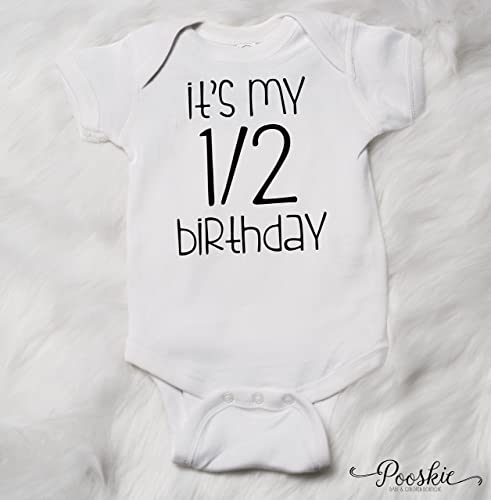 White 1 2 Birthday Bodysuit 6 Month Shirt Its My Outfit Half First Party Boy