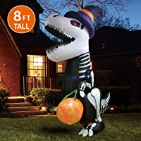 Joiedomi Halloween 8 FT Inflatable Skeleton Dinosaur with Build-in LEDs Blow Up Inflatables for Halloween Party Indoor, Outdoor, Yard, Garden, Lawn Decorations