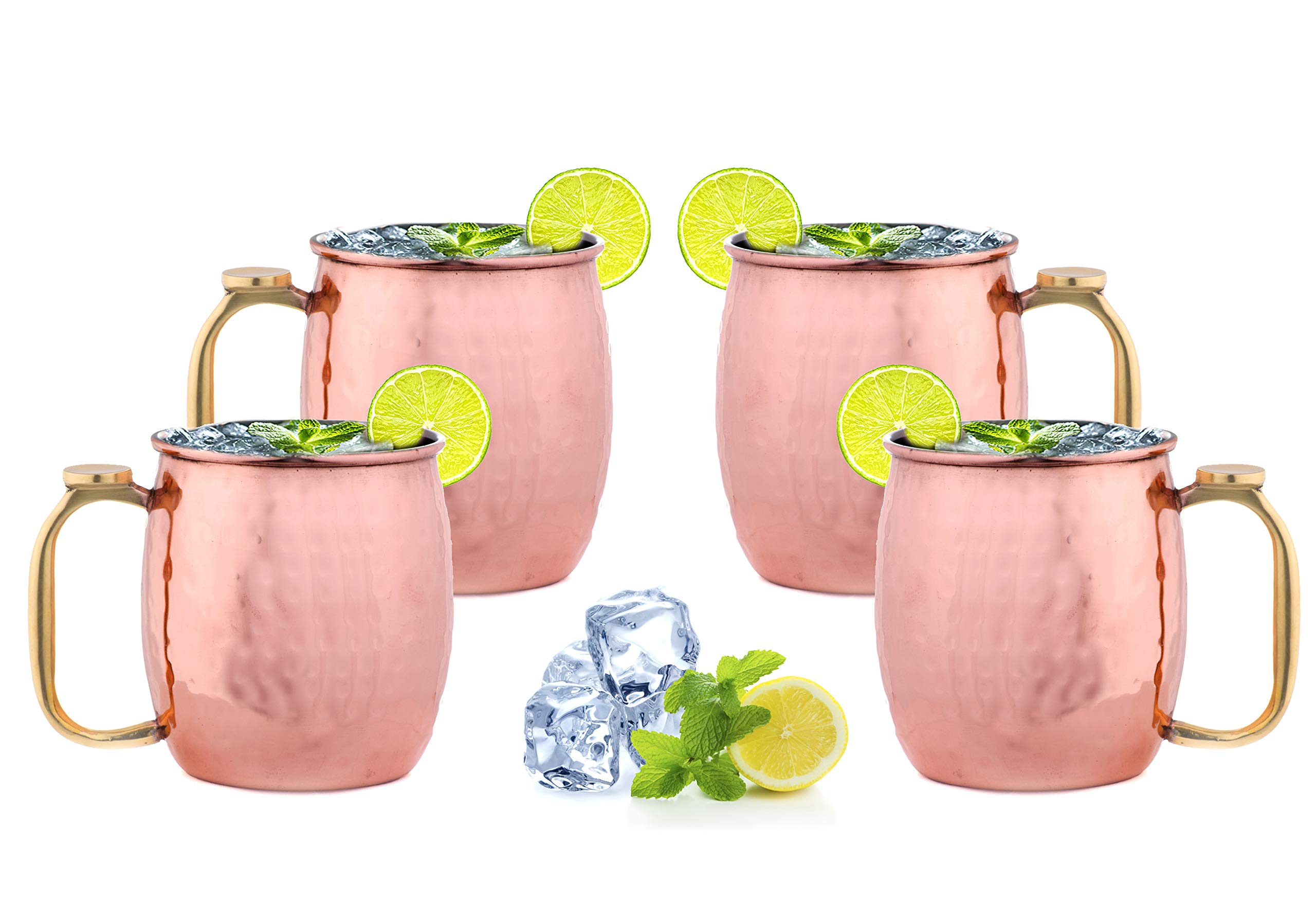 ARTISANS VILLAGE Moscow Mule Thumb Support Copper Mugs, 100% HANDCRAFTED, Food-safe Copper Mugs with Brass Handle and Stainless-Steel Lining, Highest Quality Cocktail 20 Oz (Set of 4, Hammered Thumb)