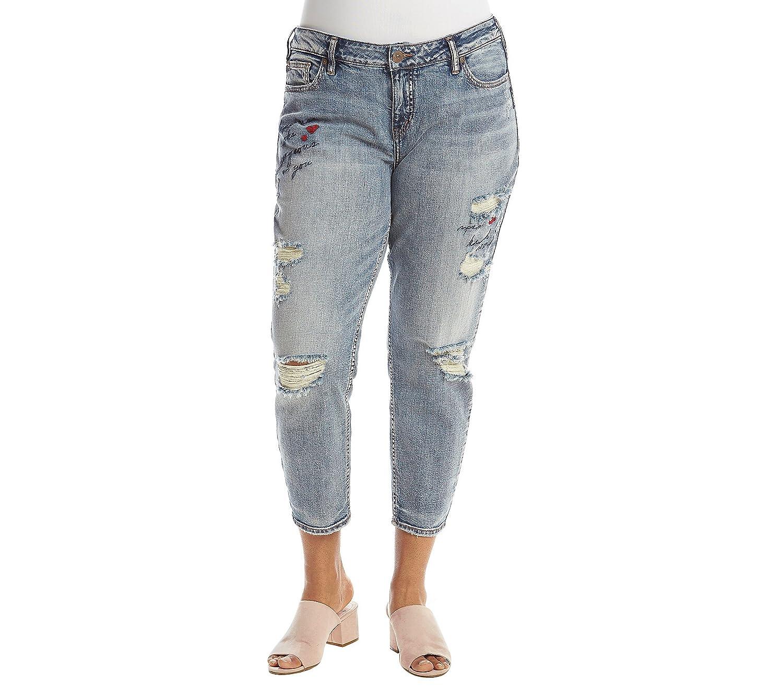 143d9d2efb6 Amazon.com  Silver Jeans Co. Women s Plus Size Elyse Slim Crop Jeans with  Script Embroidery  Clothing