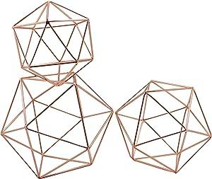 Koyal Wholesale Geometric Decor Shapes, Set of 3 Assorted Sizes for Table Centerpiece Flower Holders, Rose Gold 3D Hanging Decorations, Himmelis Prisms
