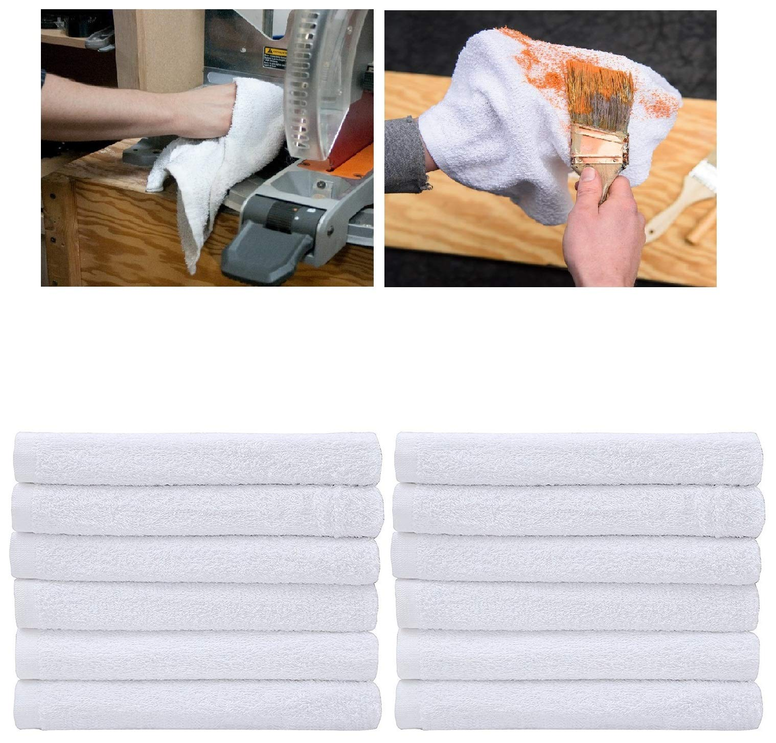 50 Terry Towels | 14'' X 17'' Shop Rags Towels | Bulk Rags for Multipurpose Cleaning Solutions - Home House Mops Bar Towels | Absorbent and Washable White Terry Cloth Wash Rags | 100% Soft Plush Cotton by LEANO