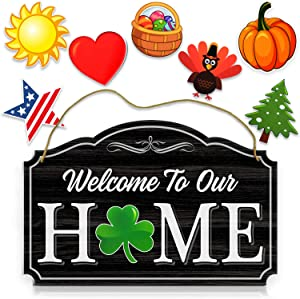 Bigtime Signs Welcome to Our Home - Black Wood Grain Print Door & Wall Decor 8 Interchangeable Holiday Magnets - Porch Hanging Plaque Decoration
