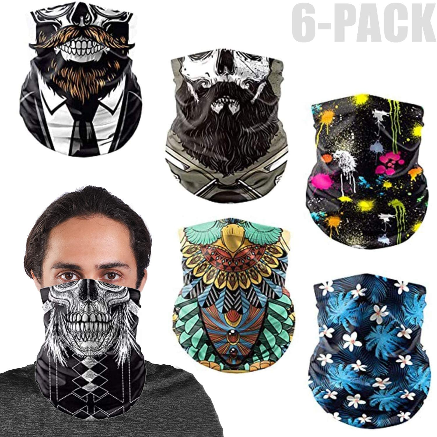 6-Pack Headband Bandana for Men Women Vetoo Loop Face Scarf Tube Balaclavas Ideal for Hip-Hop Cycling Handkerchief Neckerchief Multifunctional Headwear