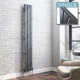 iBathUK | 1600 x 228 Vertical Column Designer Radiator Anthracite Single Flat Panel