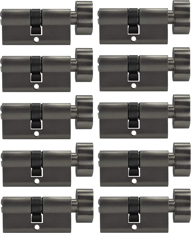 10x Zylinderschloss gleichschlie/ßend 80 mm mit Knauf und 50 Schl/üssel 40x40