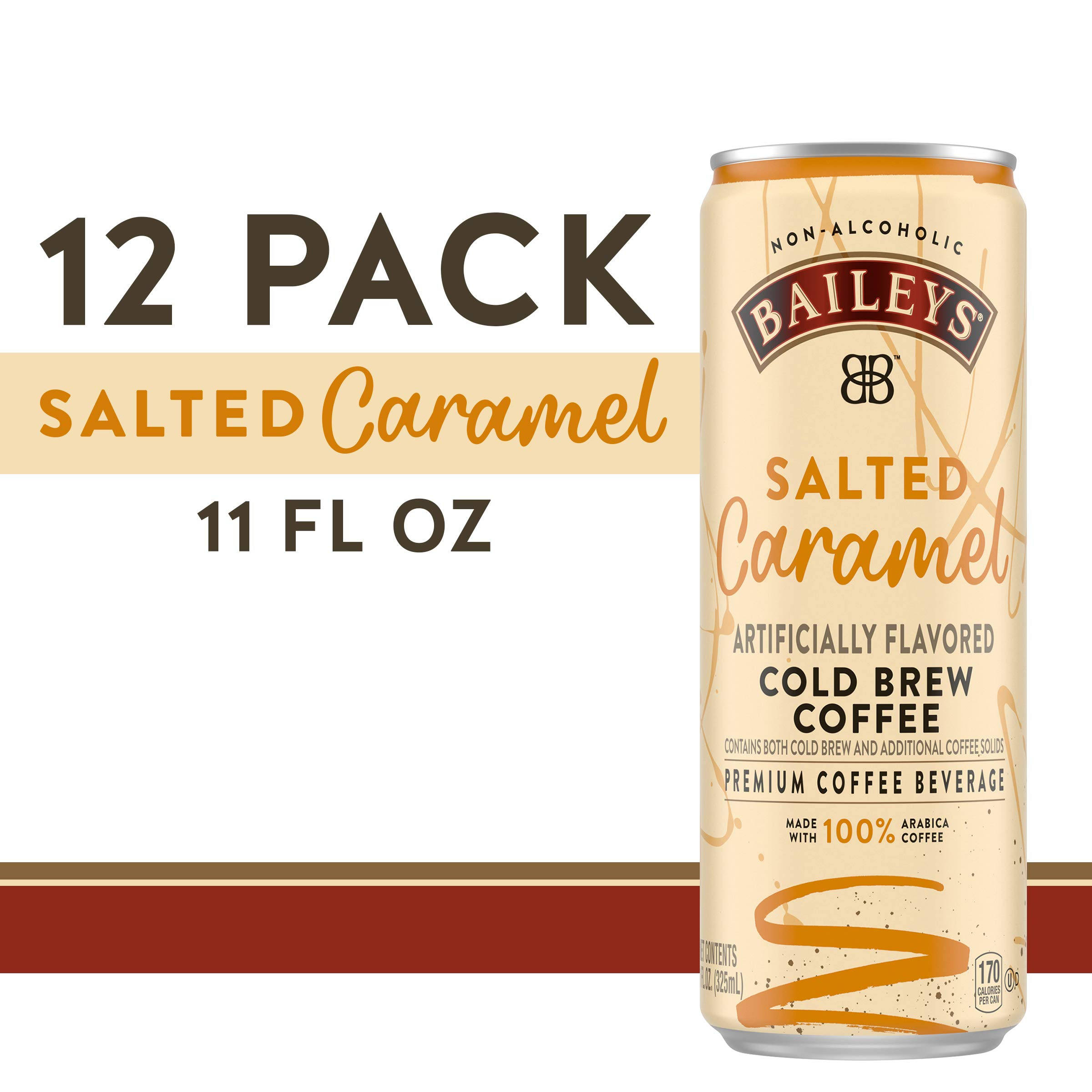 Baileys Non-Alcoholic Salted Caramel Flavored Cold Brew Coffee, 11 fl oz Can (Pack of 12) by BAILEYS