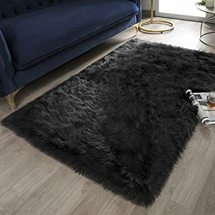 Incredible Ashler Soft Faux Rectangle Fur Chair Couch Cover Black Area Rug For Bedroom Floor Sofa Living Room Rectangle 3 X 5 Feet Caraccident5 Cool Chair Designs And Ideas Caraccident5Info
