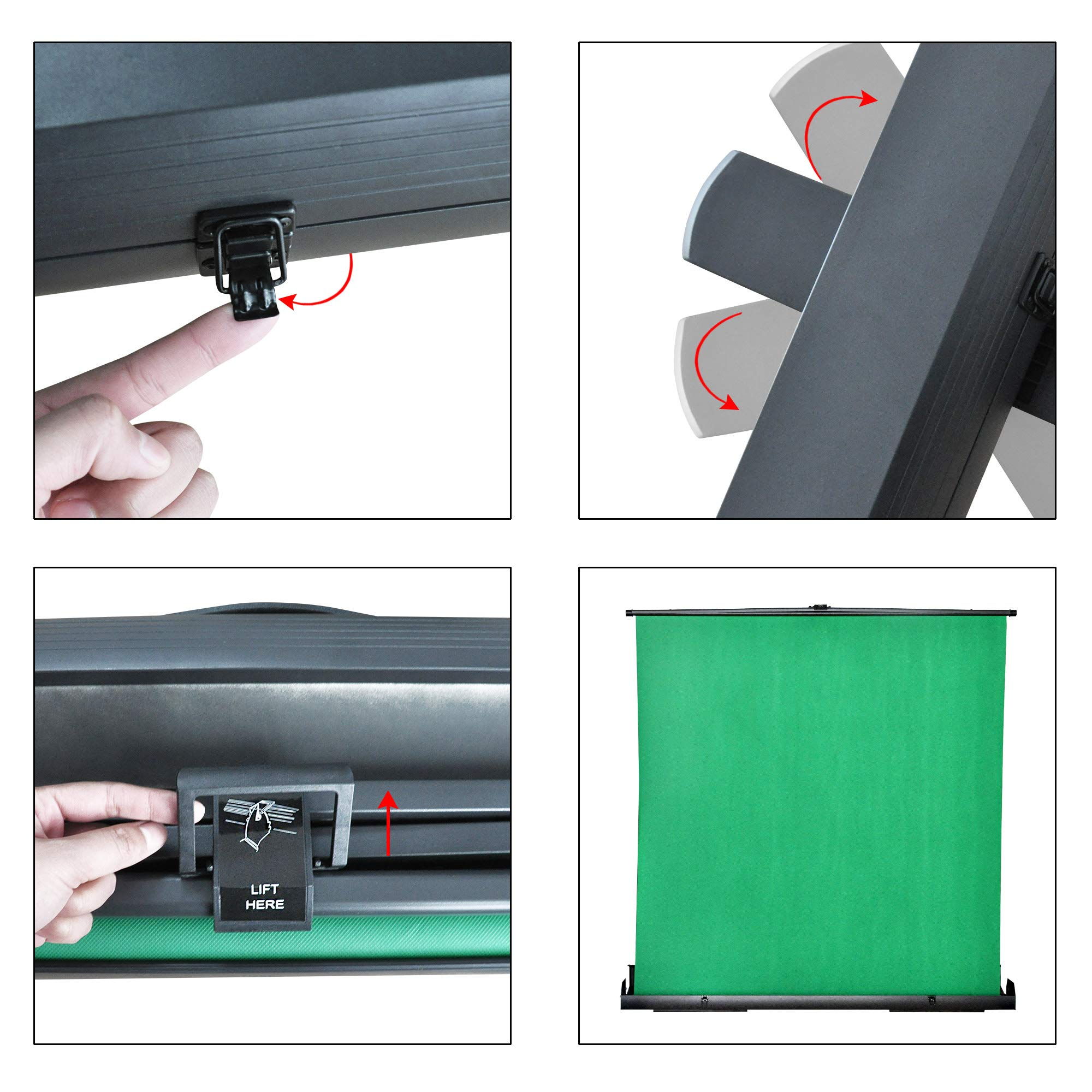 MAXTEX Green Screen, Portable Pull Up Wrinkle-Resistant Greenscreen Background Pull Up Backdrops Green Screen Backdrop Setup Auto-Locking Frame, Solid Safety Aluminium Base by MAXTEX (Image #5)