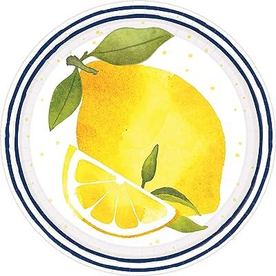 "Lemon Round Party Plates 7"" - 8 Ct: Toys & Games"