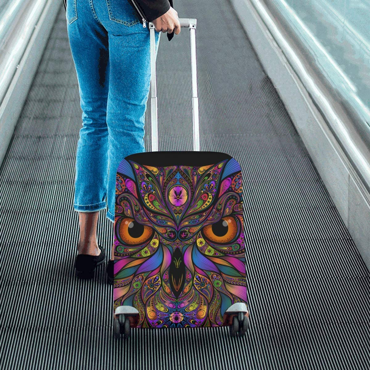InterestPrint Luggage Cover Colored Owl Traveling Luggage Cover Polyester Suitcase 20x24 Inch Unisex